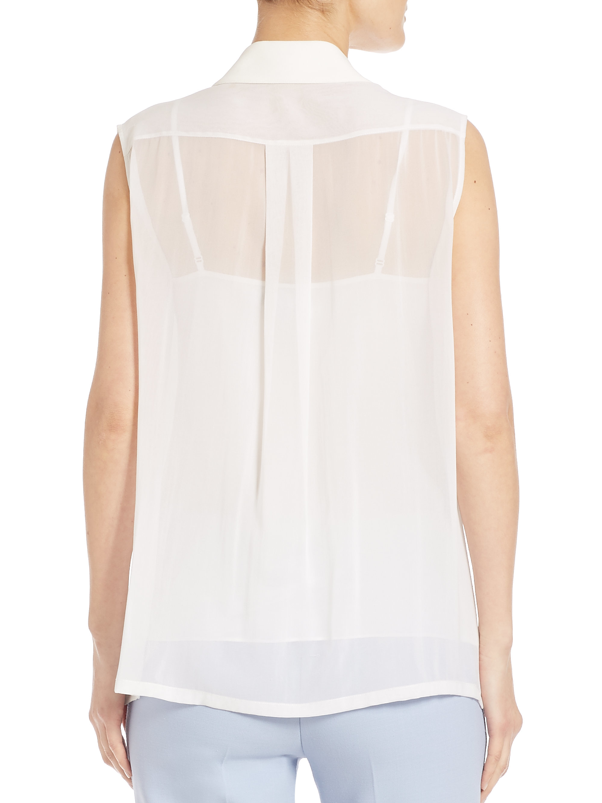 White Silk Sleeveless Blouse 105