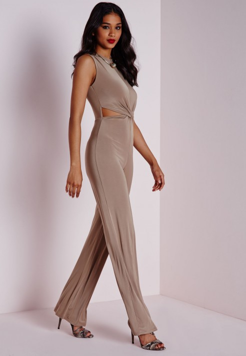 8c96334aa74 Lyst - Missguided Slinky Twist Front Jumpsuit Taupe in Brown