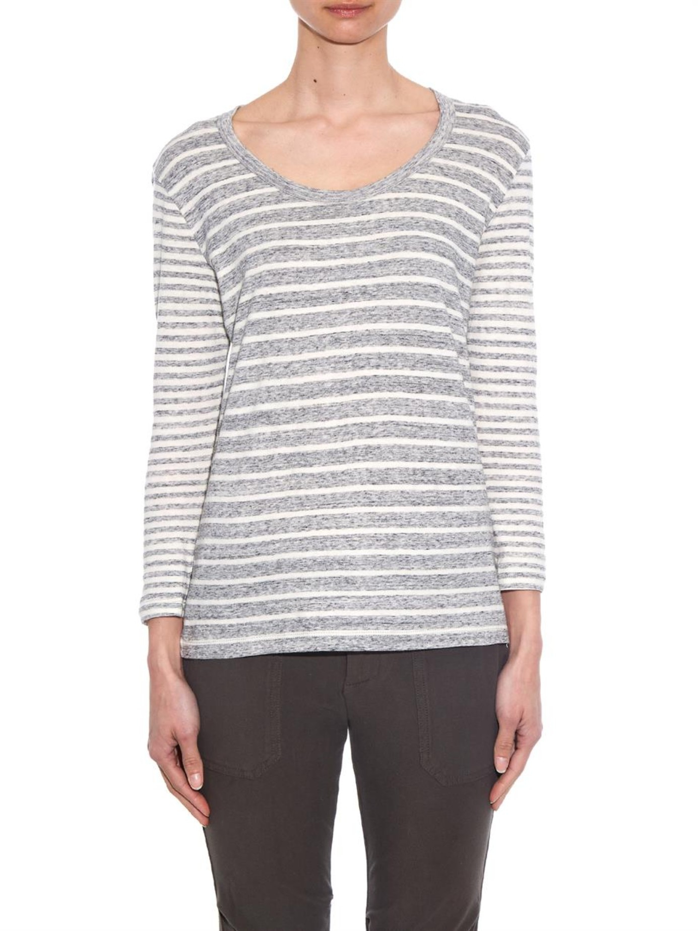 Lyst james perse collage stripe cotton jersey t shirt in for Grey striped t shirt
