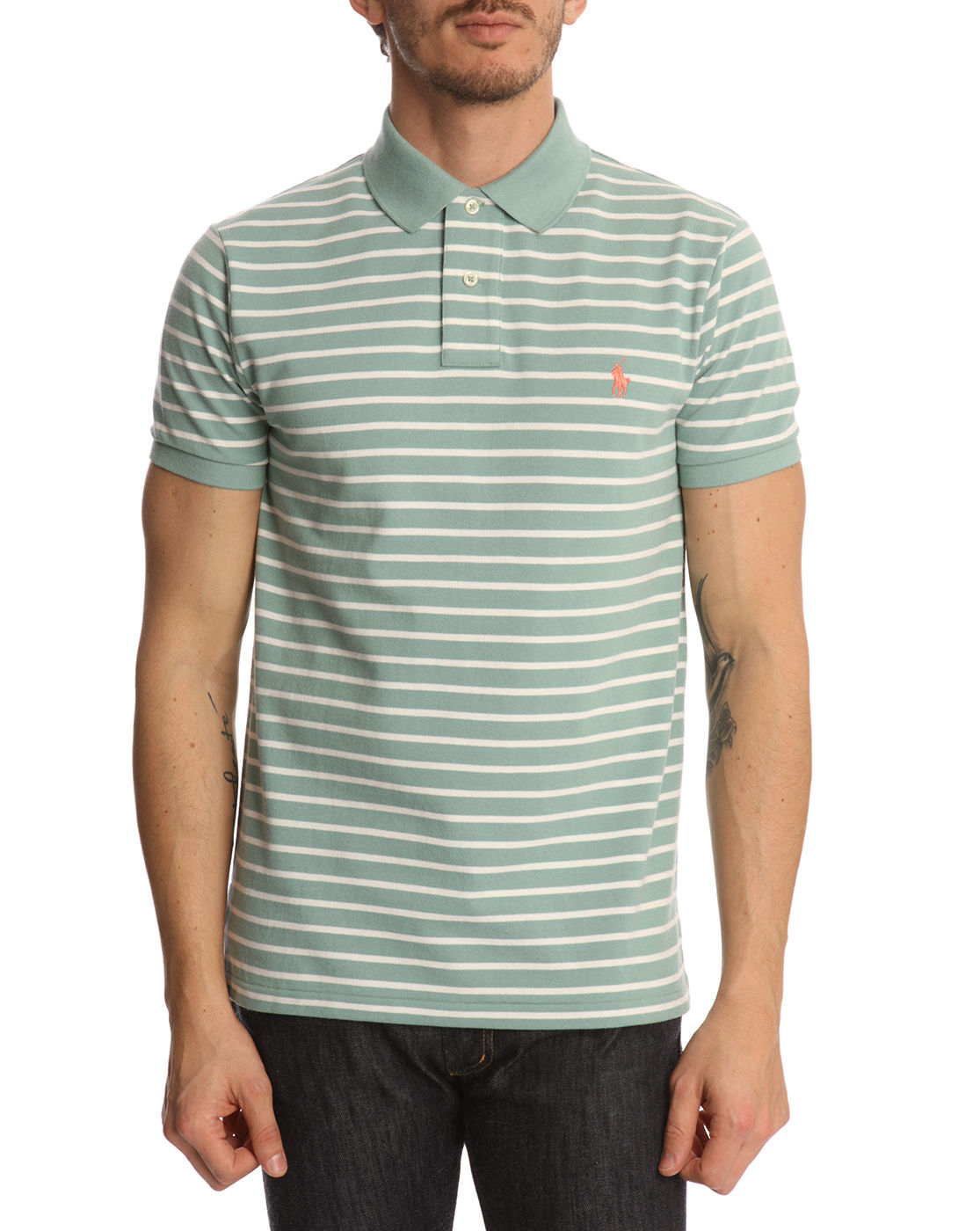 polo ralph lauren custom fit faded green striped polo