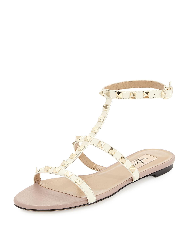 29145c8b149 Lyst - Valentino Rockstud Ankle-strap Flat Sandal in White