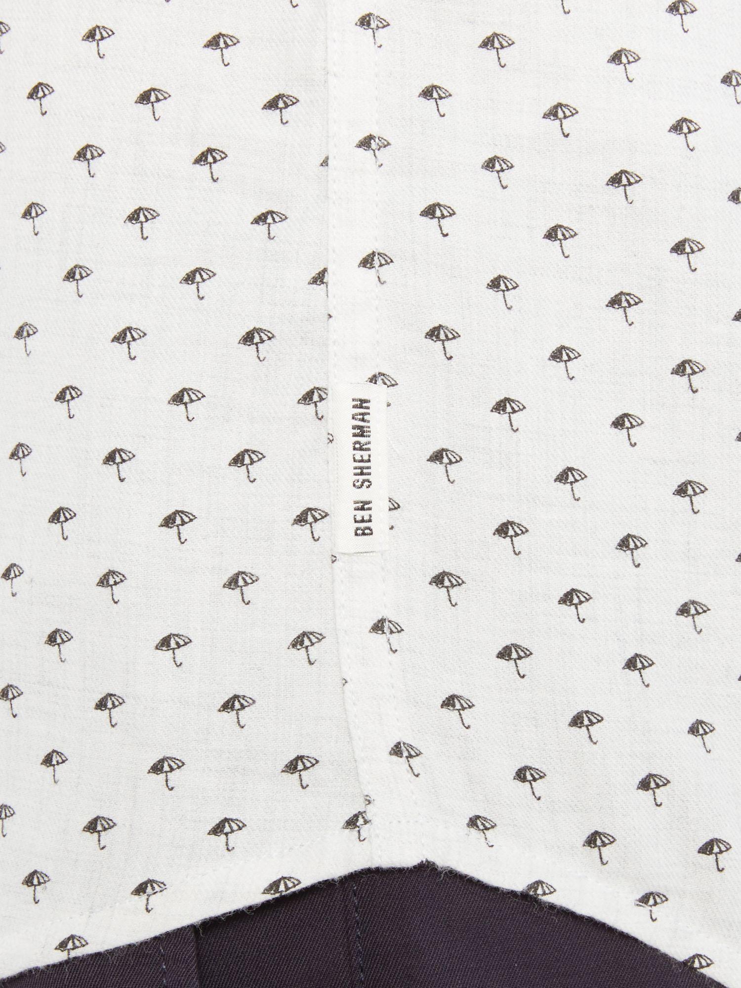 ben sherman umbrella print long sleeve shirt in white for men lyst
