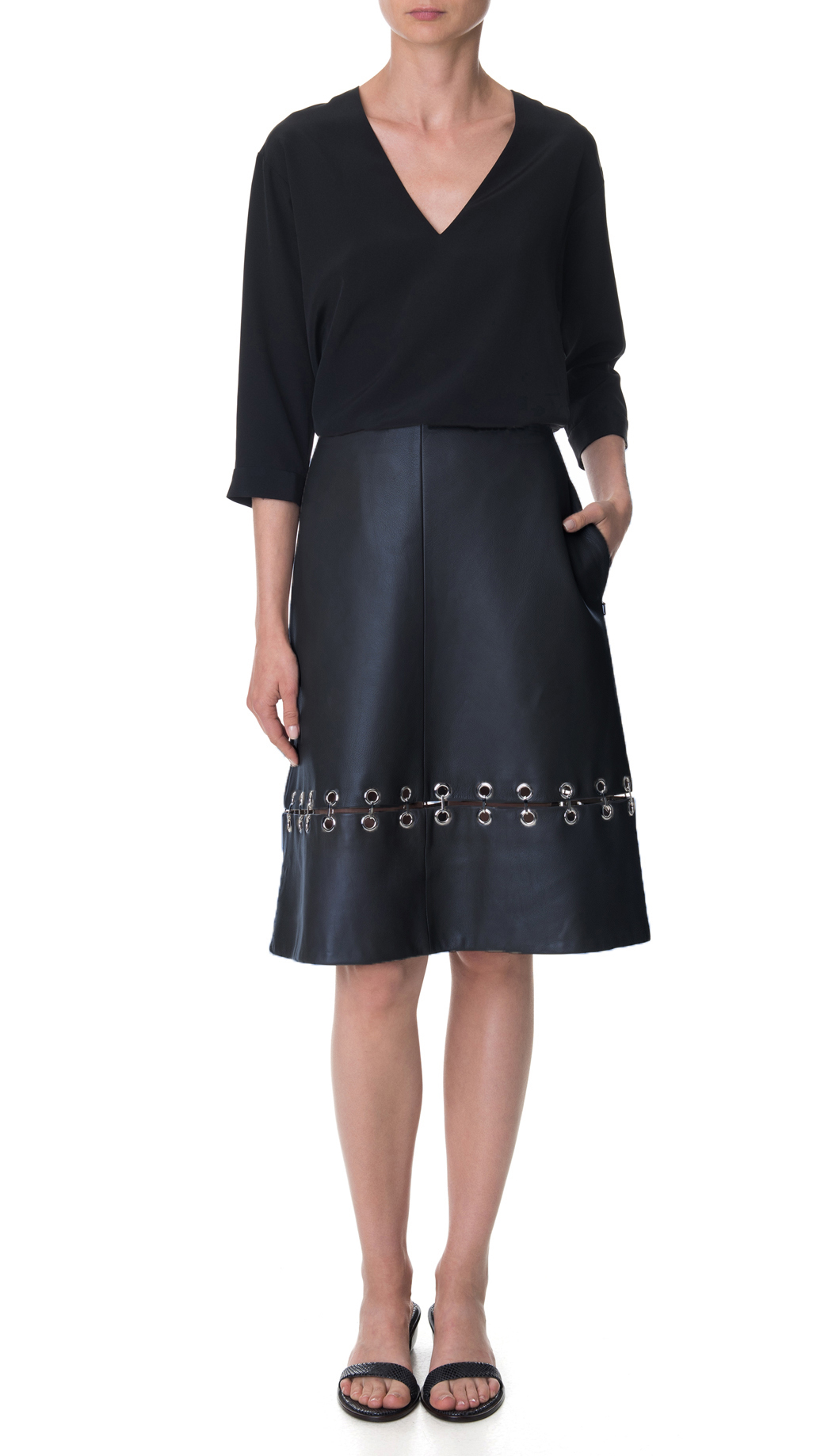tibi metal rings on leather a line skirt in black lyst