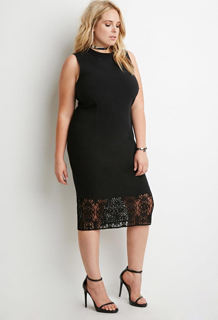 Lace paneled dress plus size