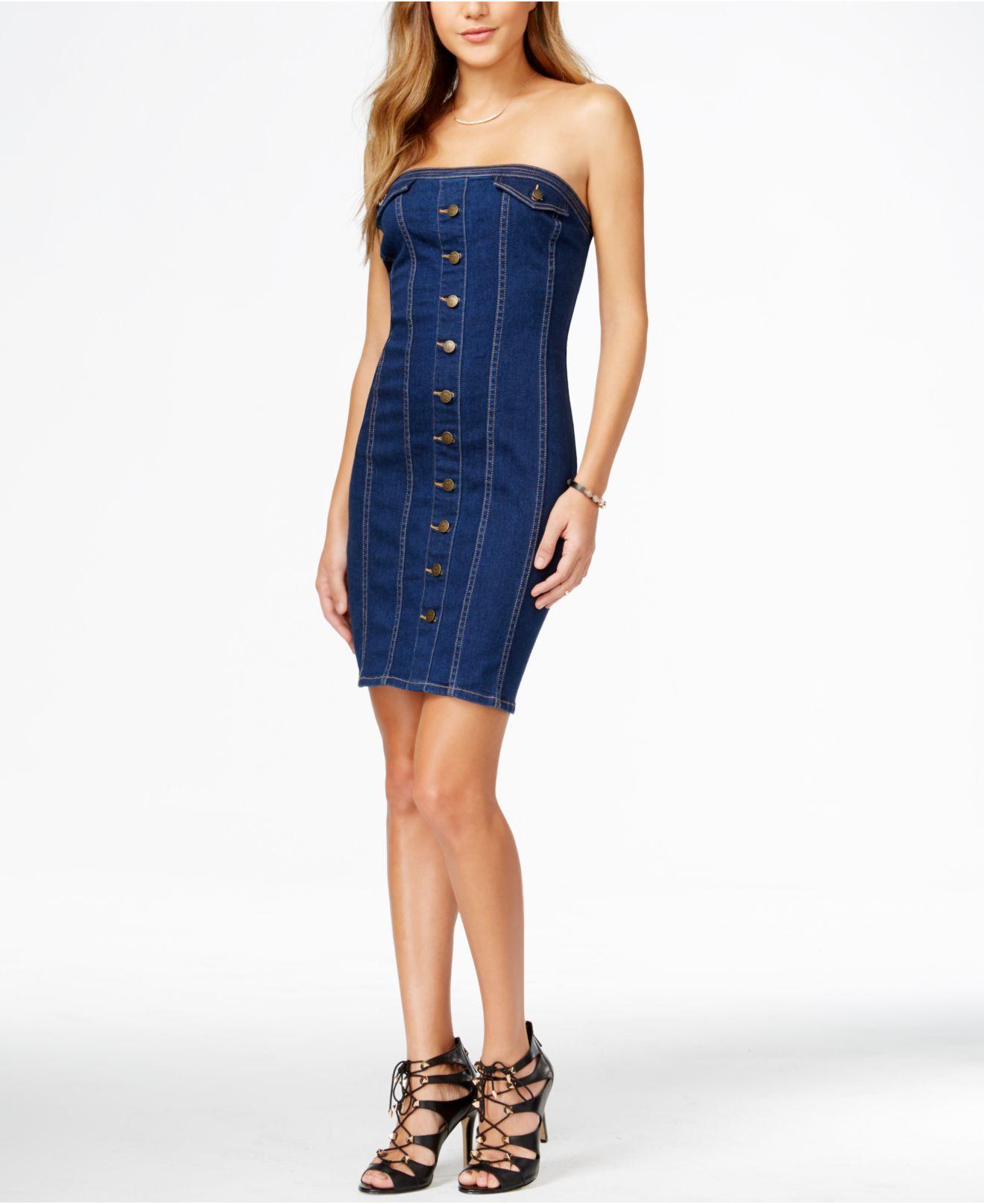 1da33fe137 Lyst - Guess Strapless Denim Bodycon Dress in Blue