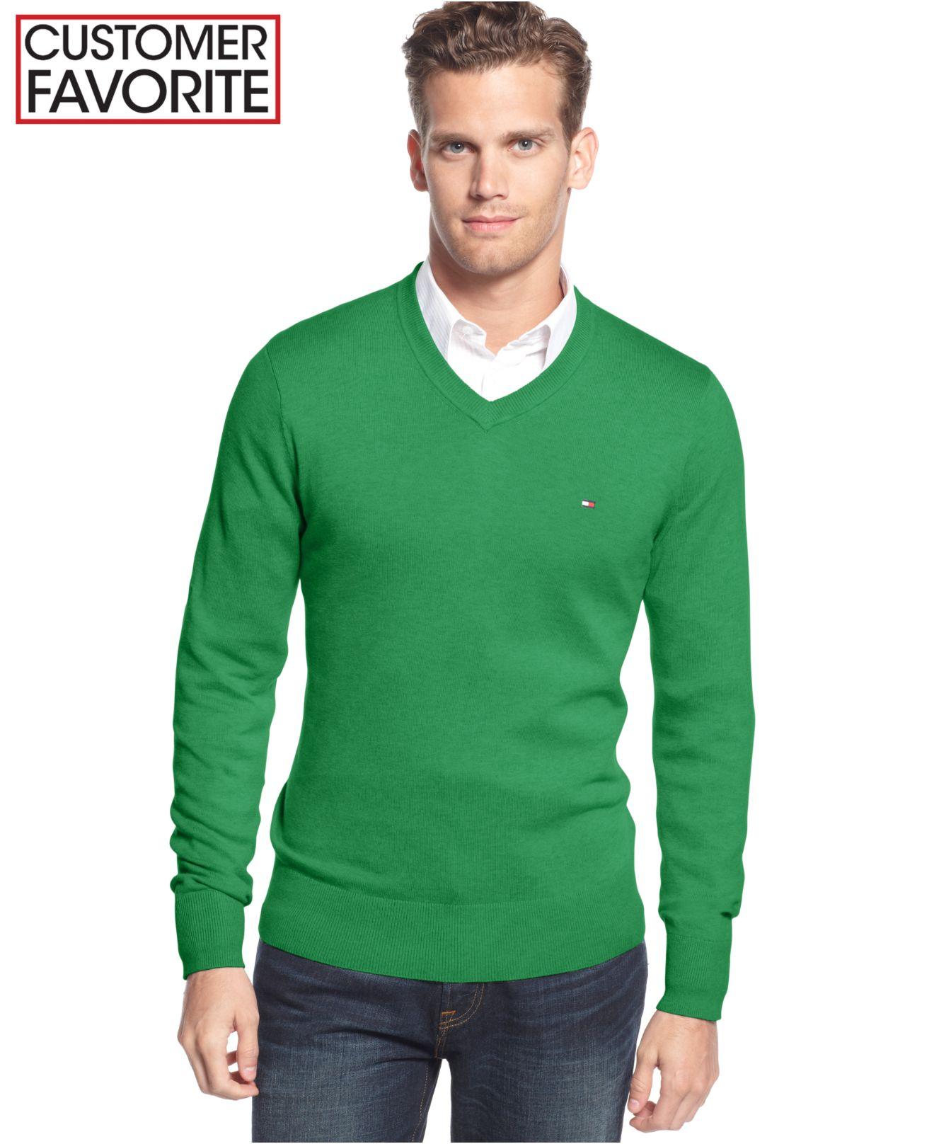 tommy hilfiger signature solid v neck sweater in green for. Black Bedroom Furniture Sets. Home Design Ideas