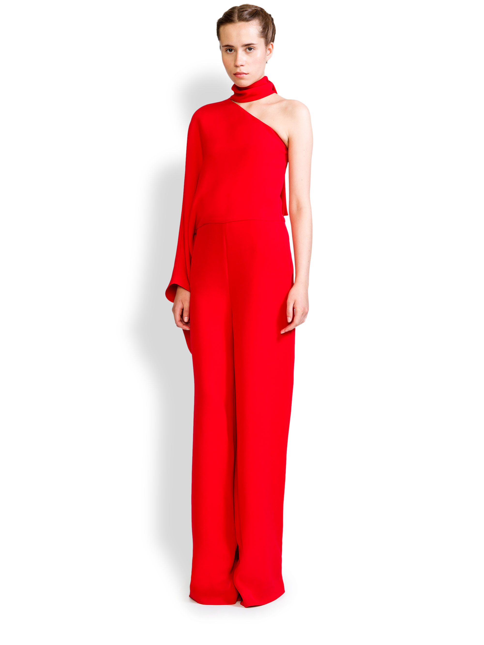 1663ad992d Lyst - Valentino One-shoulder Scarf-neck Silk Jumpsuit in Red