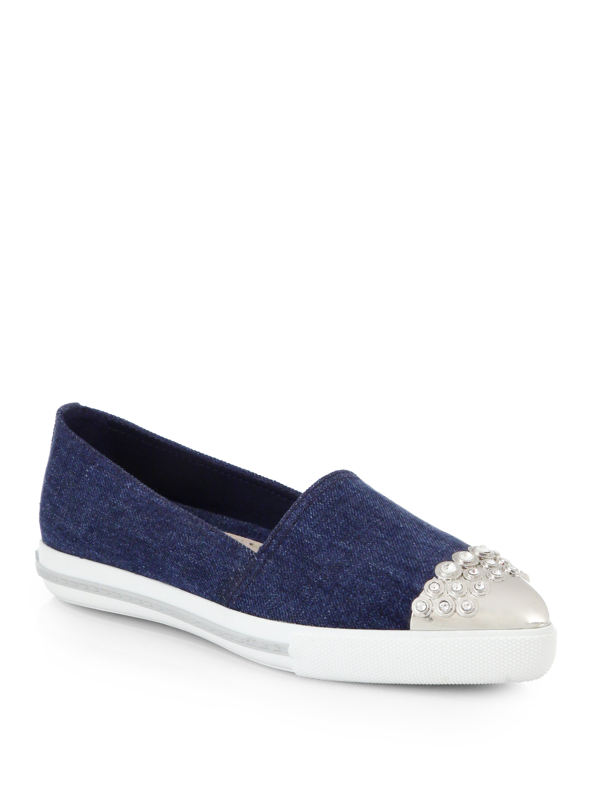 Miu Miu Cap Toe Denim Platform Sneakers
