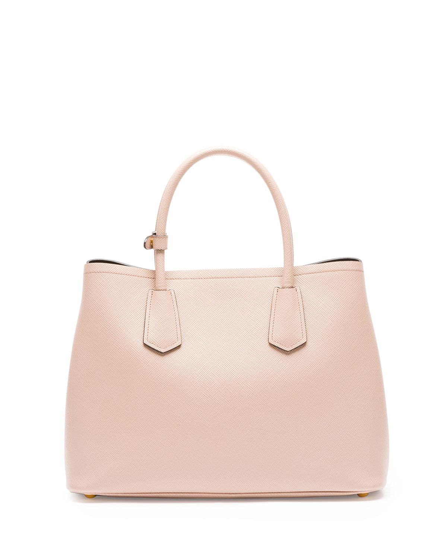 Prada Saffiano Cuir Small Double Bag in Pink (BLUSH) | Lyst