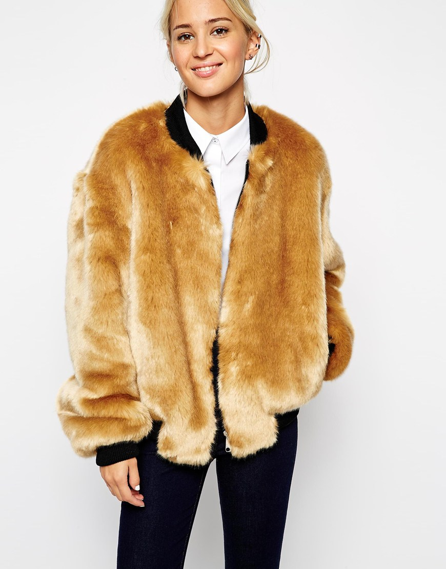 Lyst - ASOS Faux Fur Bomber Jacket in Natural 7e3d6db22