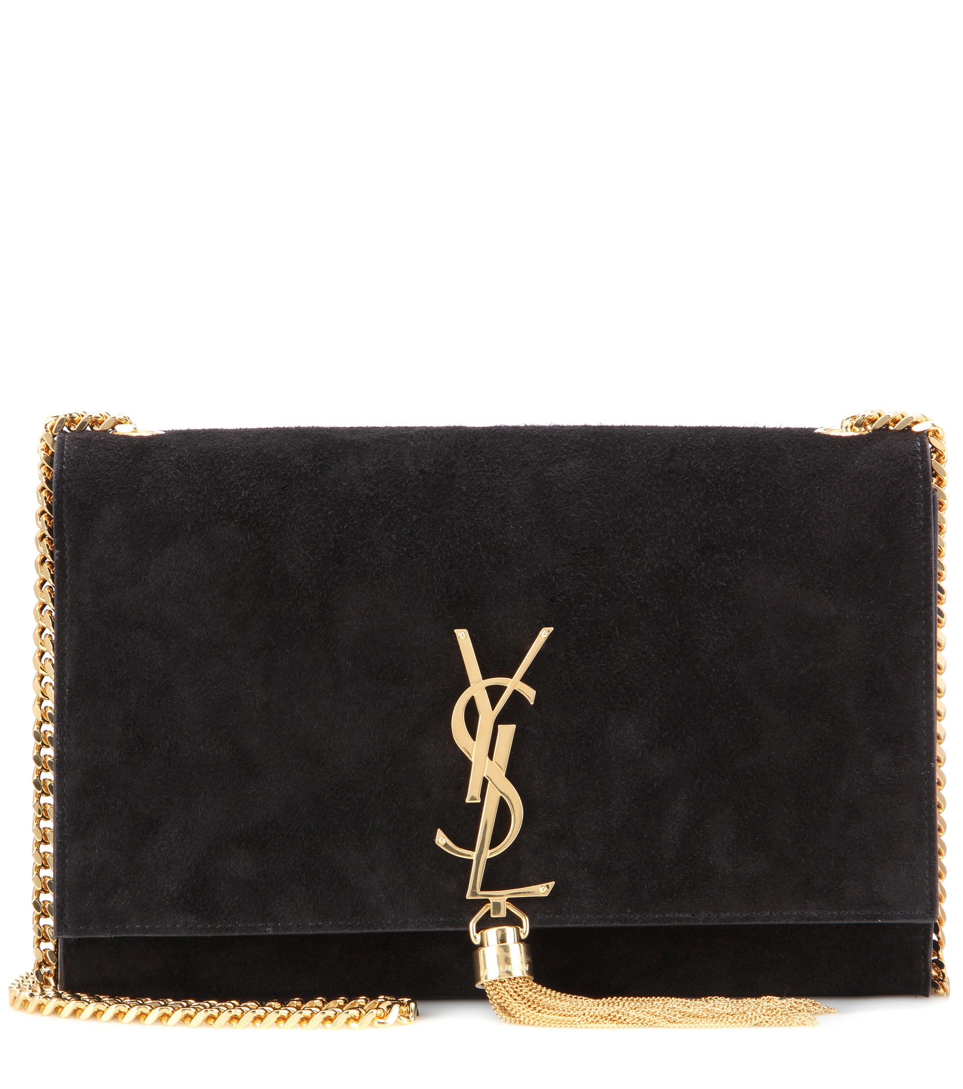 saint laurent classic monogram suede shoulder bag in black lyst. Black Bedroom Furniture Sets. Home Design Ideas