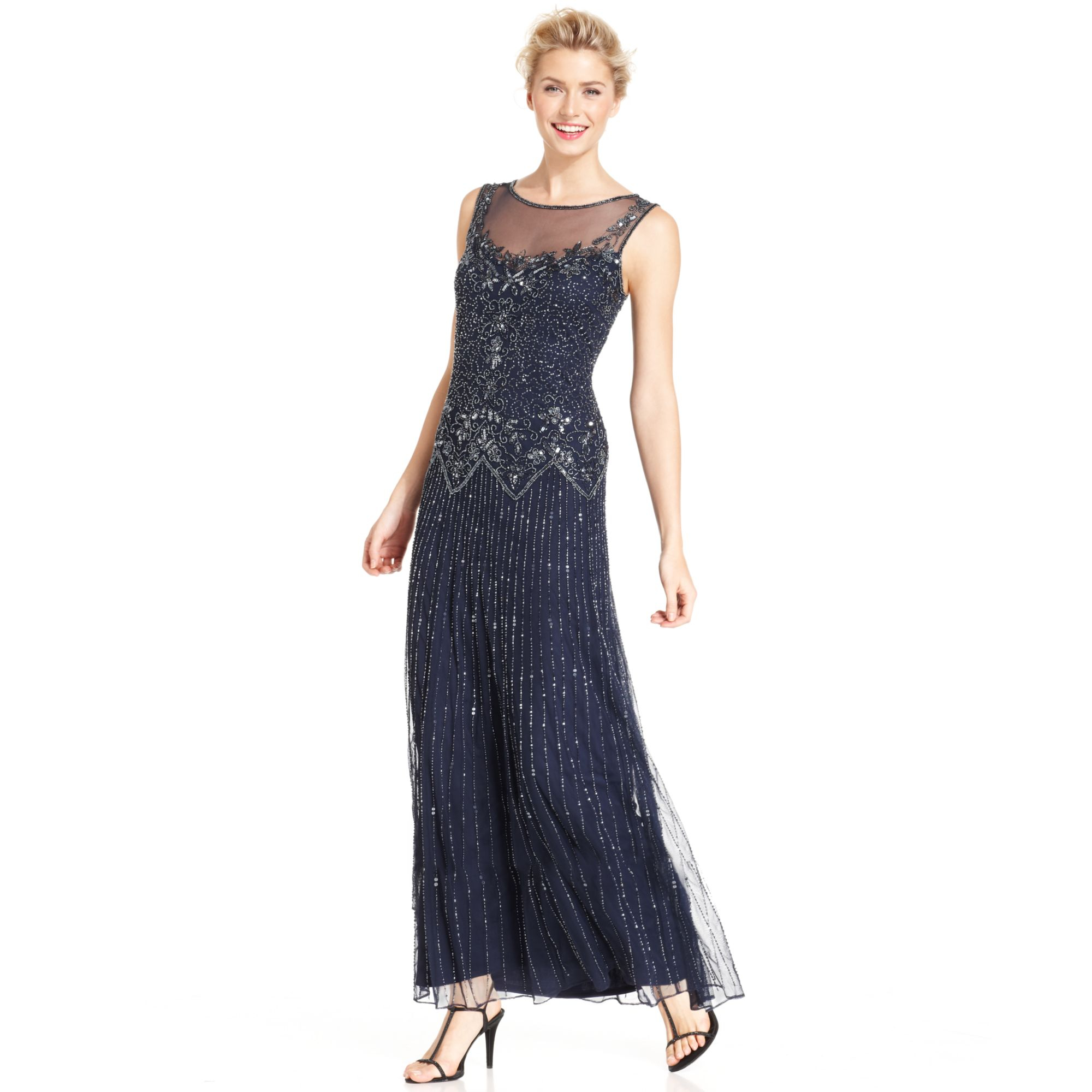 Pisarro Nights Sleeveless Illusion Beaded Gown In Blue