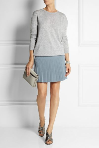 dkny pleated crepe mini skirt in blue lyst
