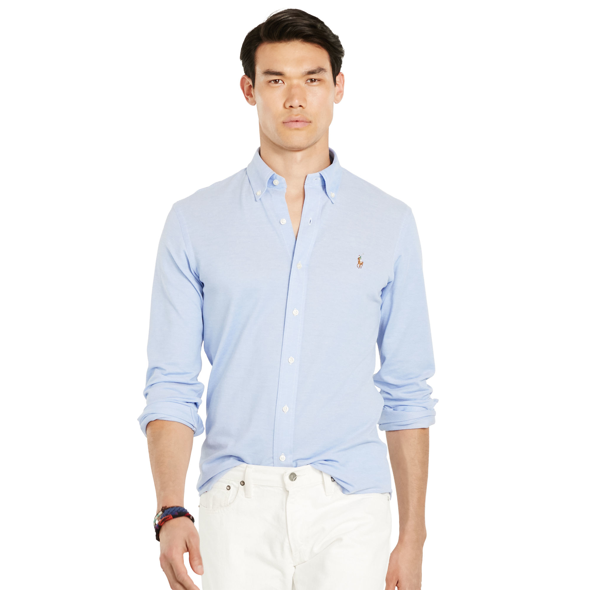 0449fce028309 Polo Ralph Lauren Slim-fit Knit Oxford in Blue for Men - Lyst