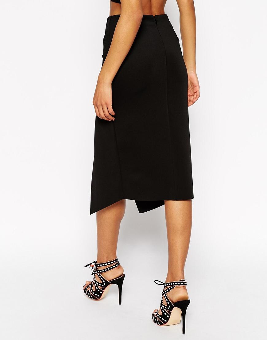 asos midi wrap skirt with edge in black lyst