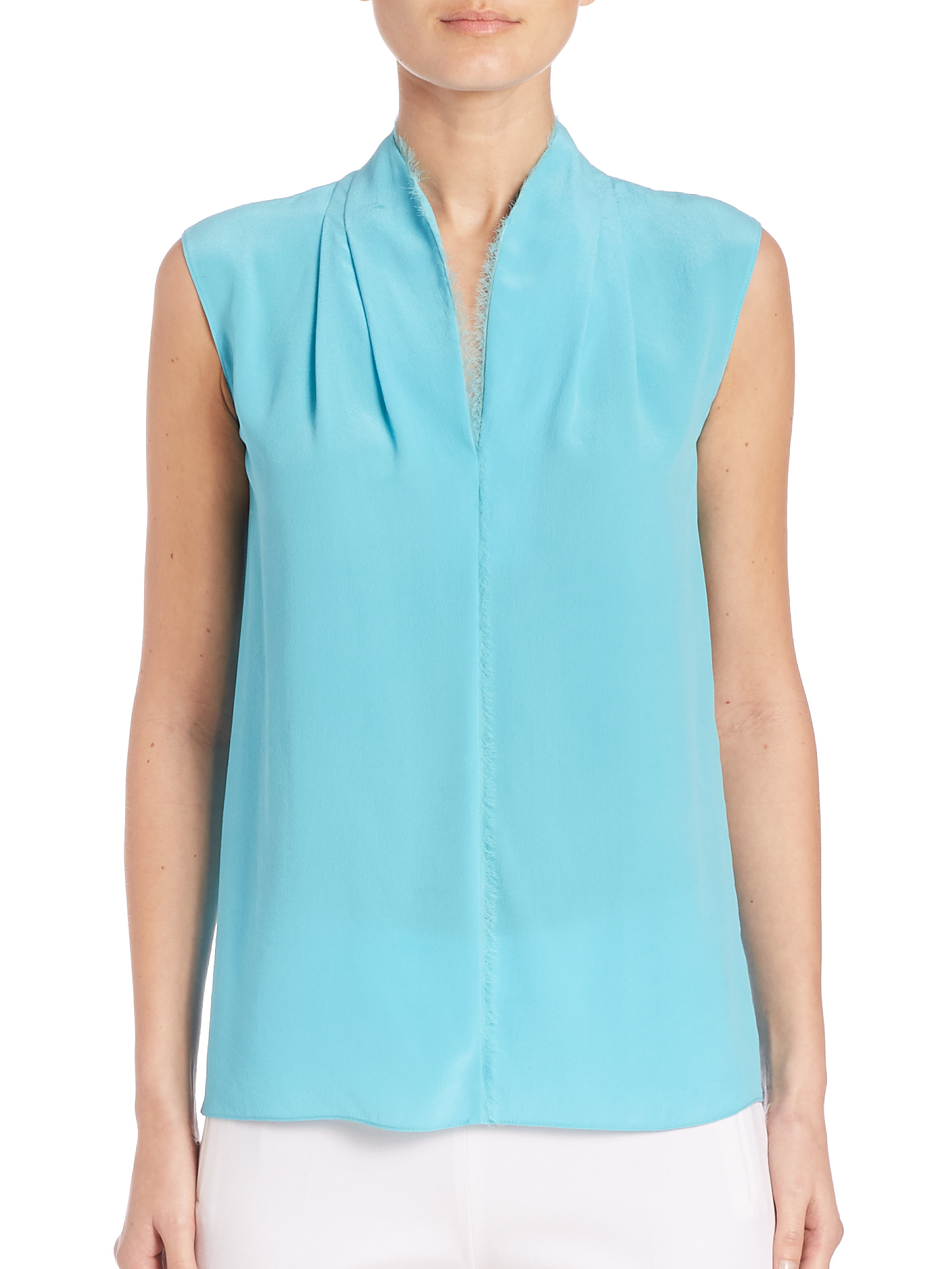 df3b9b2ffe9560 Elie Tahari Judith Silk Blouse in Blue - Lyst