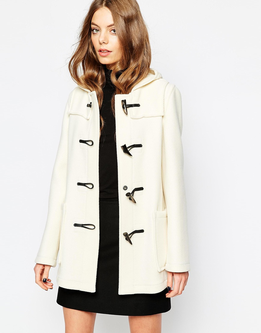 Gloverall Short Duffle Coat In Winter White in Natural | Lyst