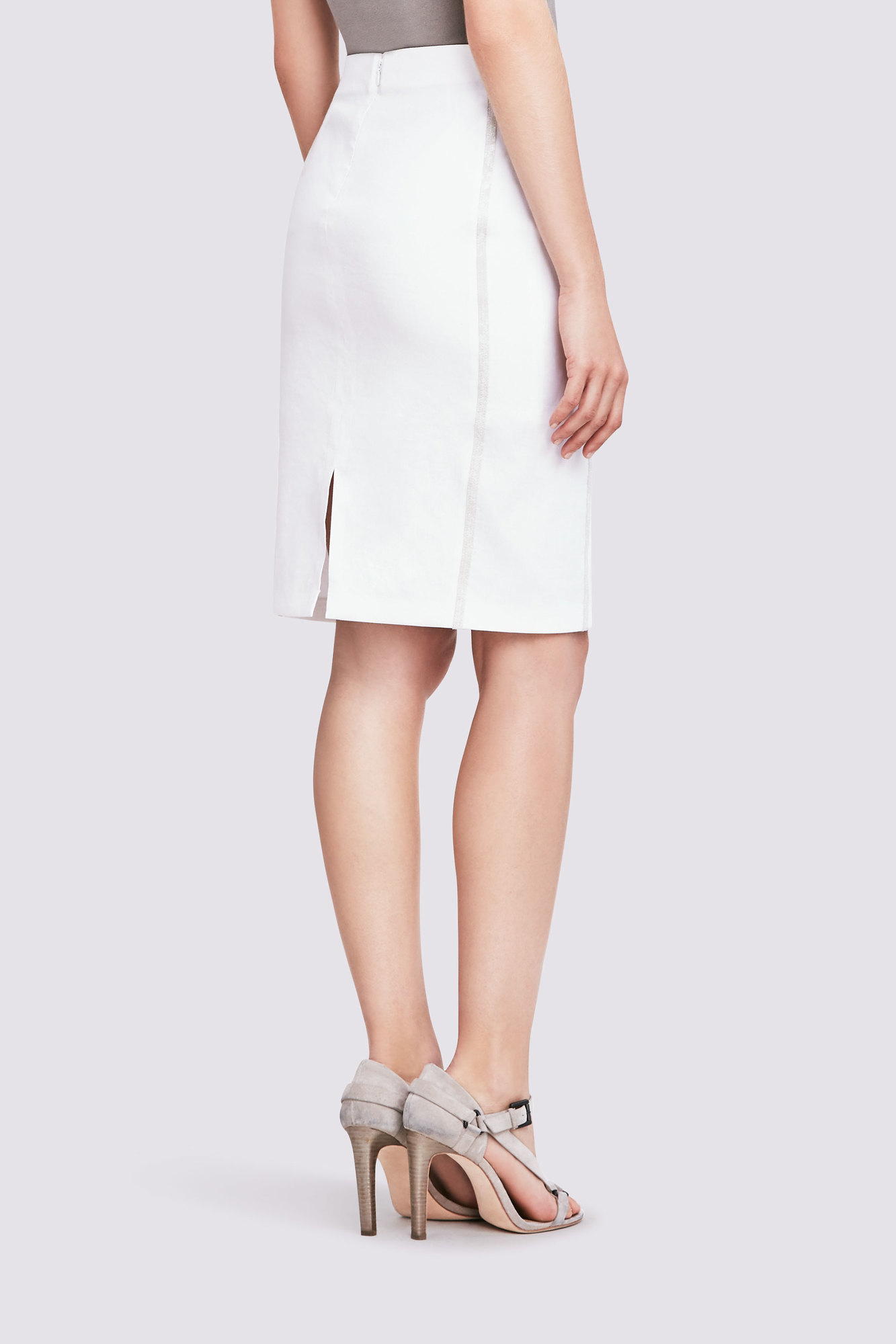 Elie Tahari Eliza Skirt In Stretch Linen In White Lyst