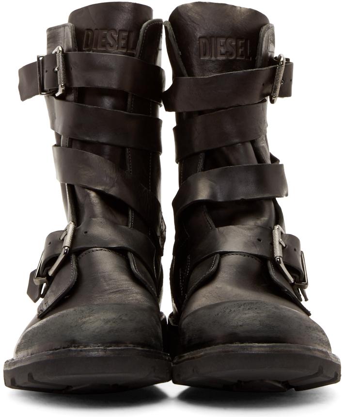 DIESEL Black Leather D-tankker Boots in Black for Men - Lyst