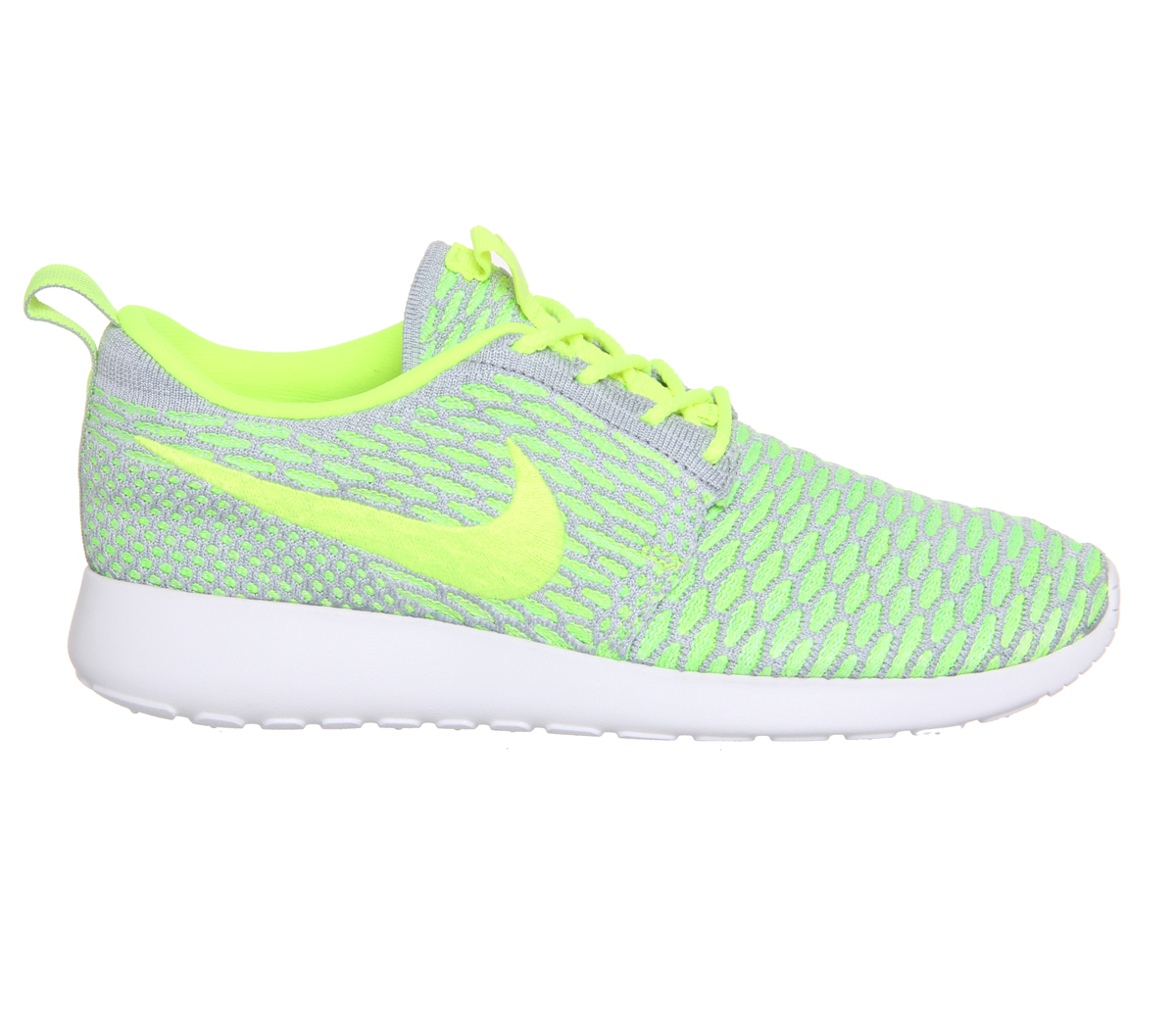 nike roshe run flyknit in gray grey lyst. Black Bedroom Furniture Sets. Home Design Ideas
