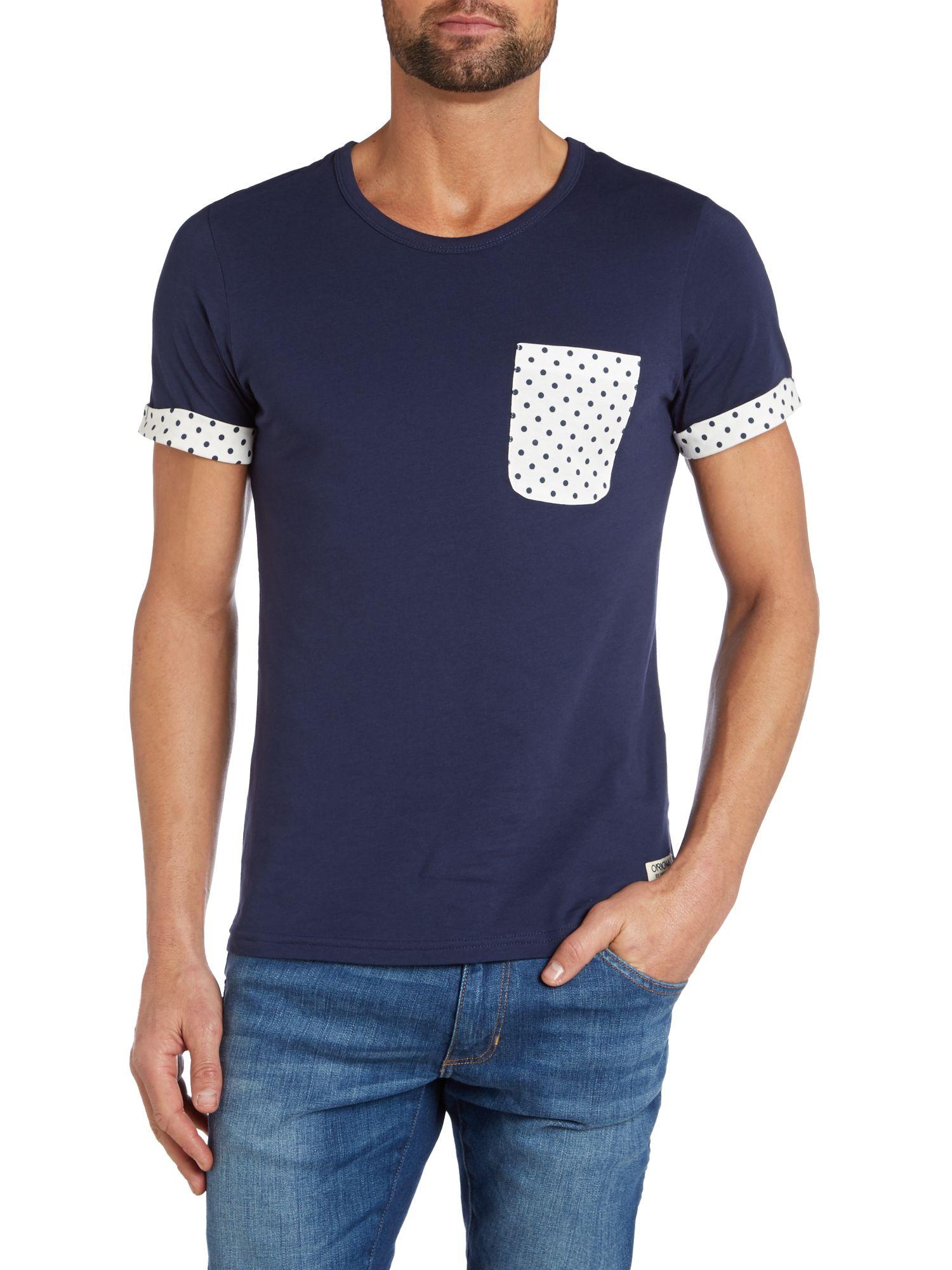 jack jones cotton dot pocket t shirt in blue for men lyst. Black Bedroom Furniture Sets. Home Design Ideas