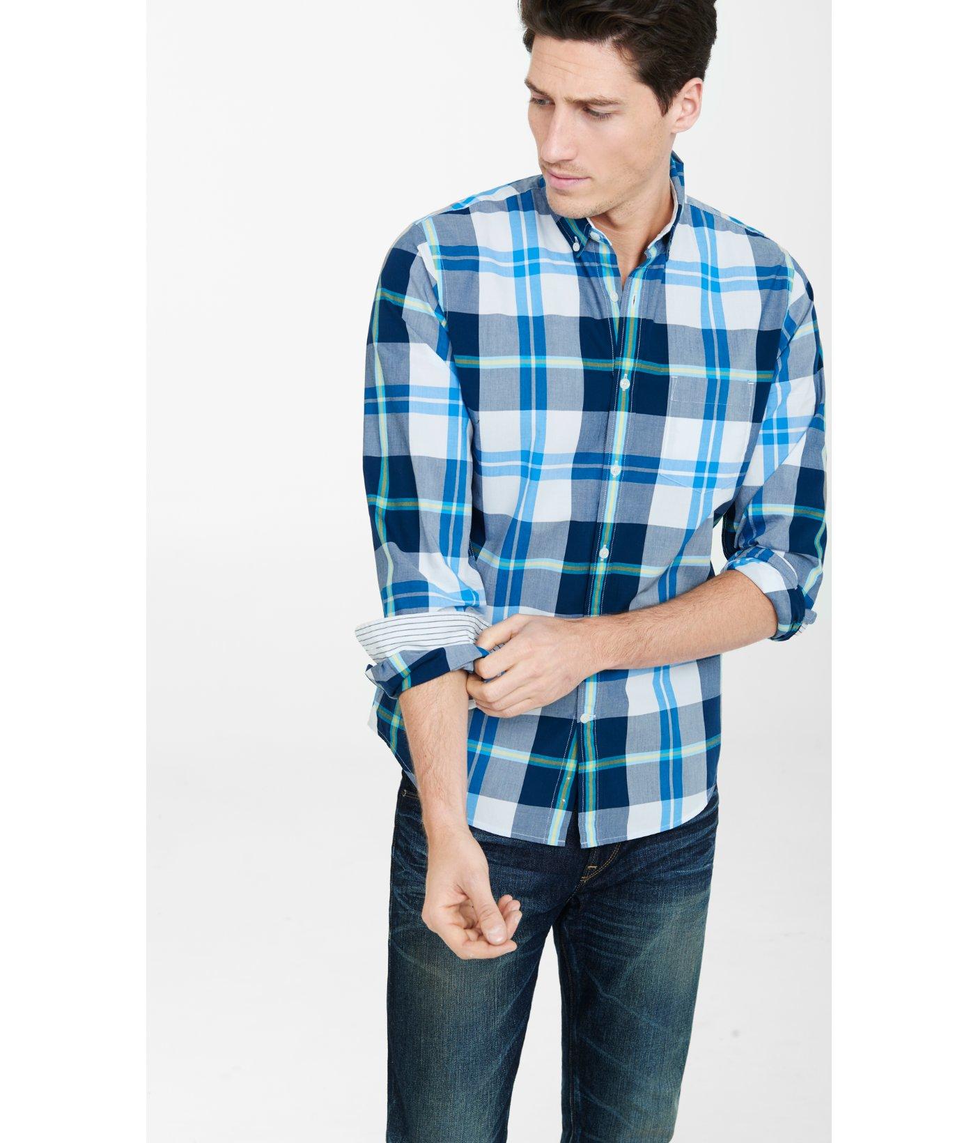 Lyst express plaid button down collar blue shirt in blue for Button down collar dress shirts