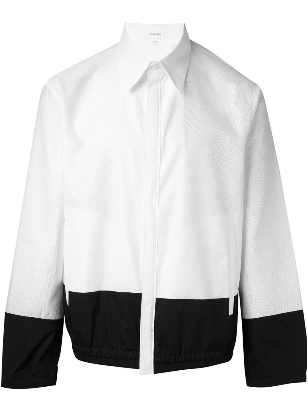 Jil sander contrast hem shirt jacket in black for men lyst for Jil sander mens shirt