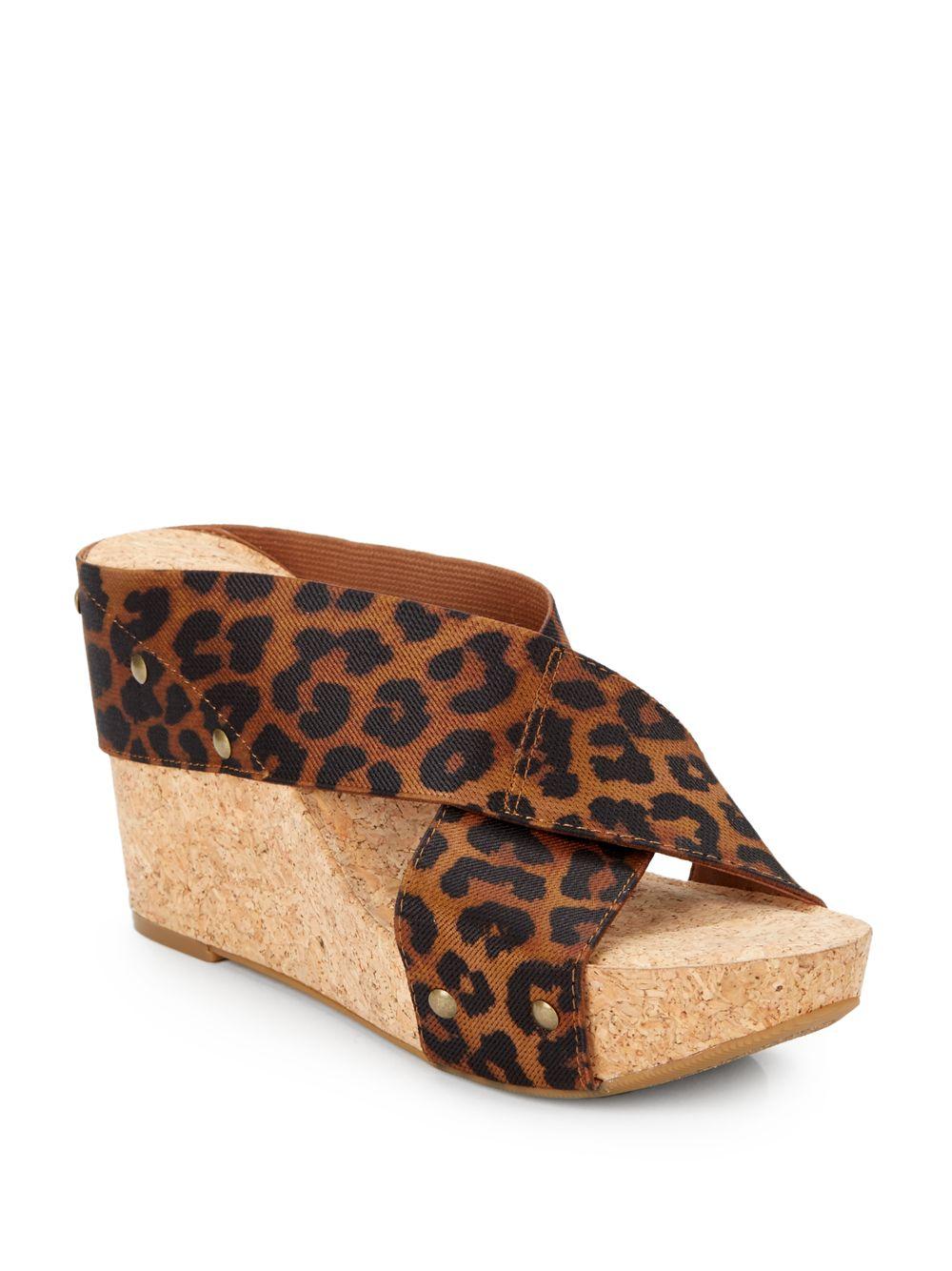 lucky brand miller 2 leopard print crisscross wedge