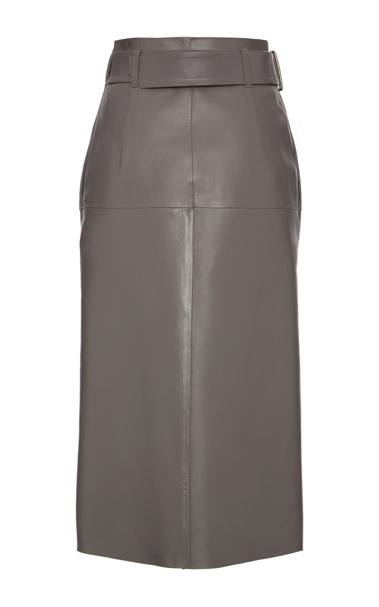 Bally A-Line Grey Leather Skirt in Gray | Lyst