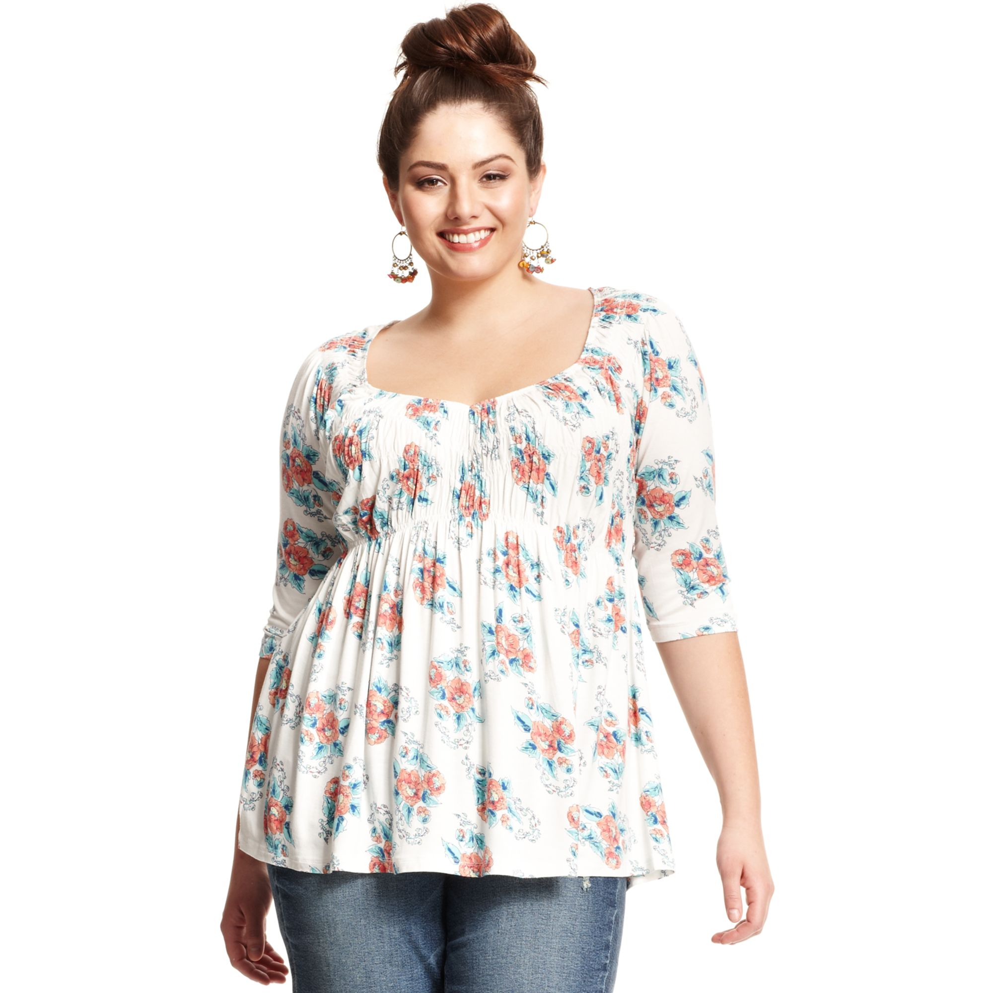 american rag plus size three-quarter sleeve floral print babydoll