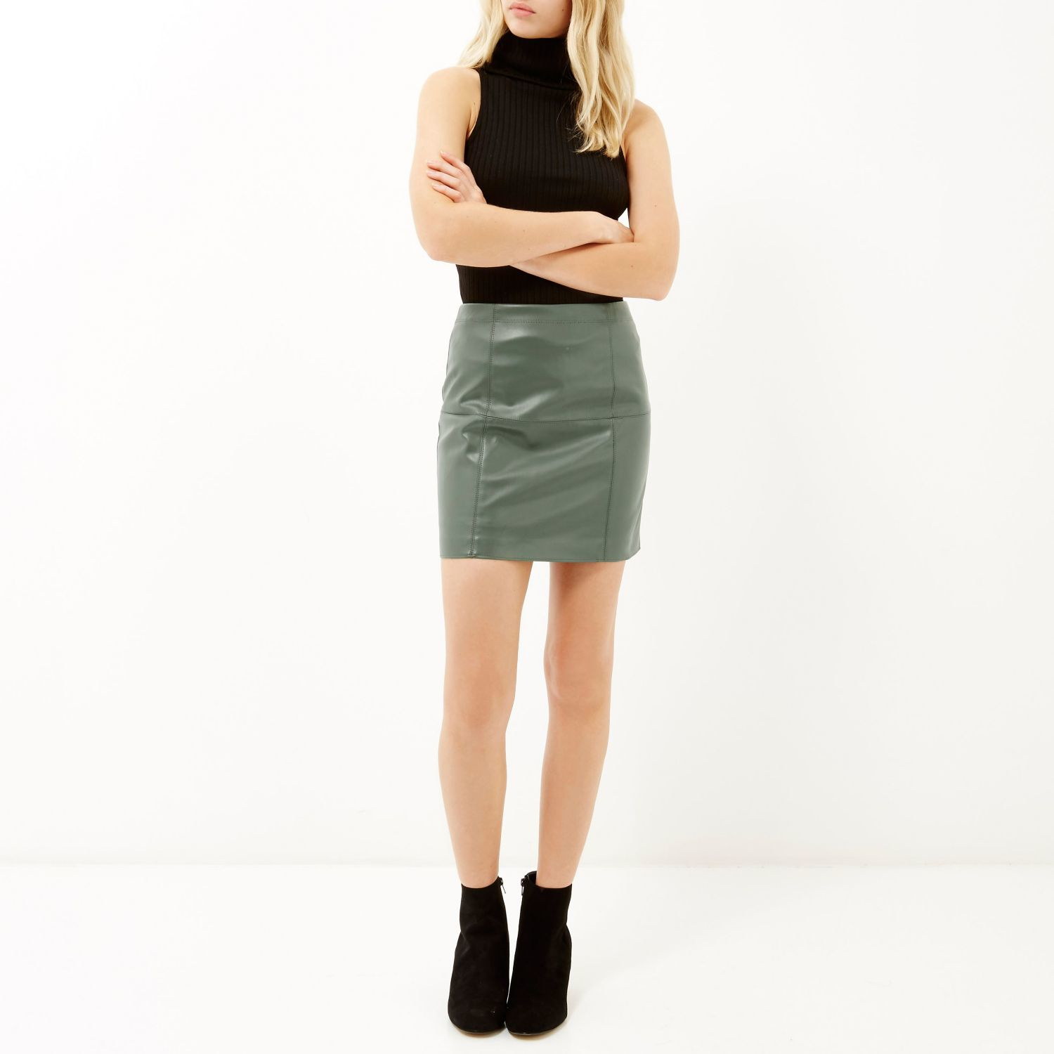 river island light green leather look mini skirt in green