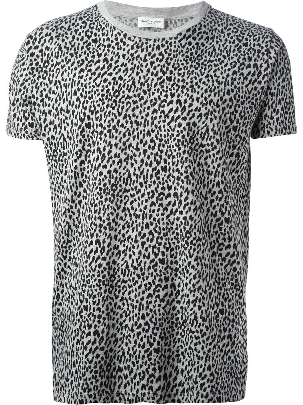 Saint laurent leopard print t shirt in gray for men lyst for Saint laurent t shirt