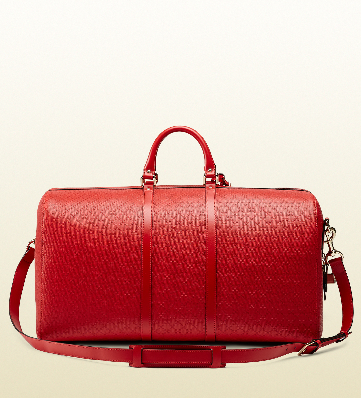 d45792dab40 Lyst - Gucci Bright Diamante Leather Carry-on Duffle Bag in Red