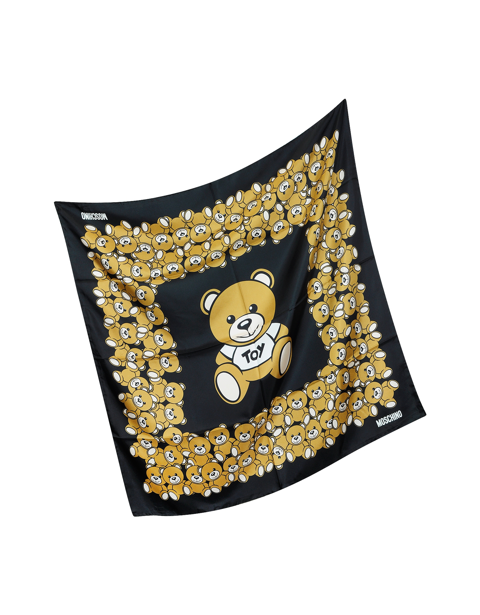 moschino teddy bears printed twill silk square scarf in