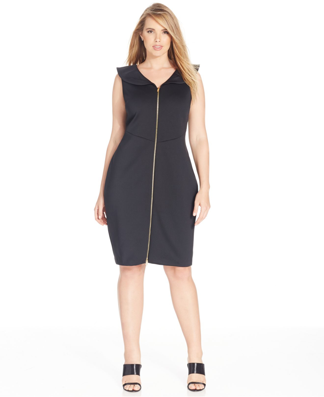 Calvin Klein Plus Size Zip Front Scuba Dress In Black Lyst