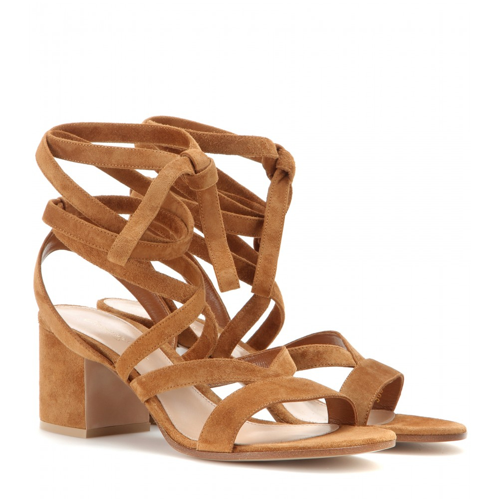 eb868496ad1 Lyst - Gianvito Rossi Janis Low Suede Sandals in Brown