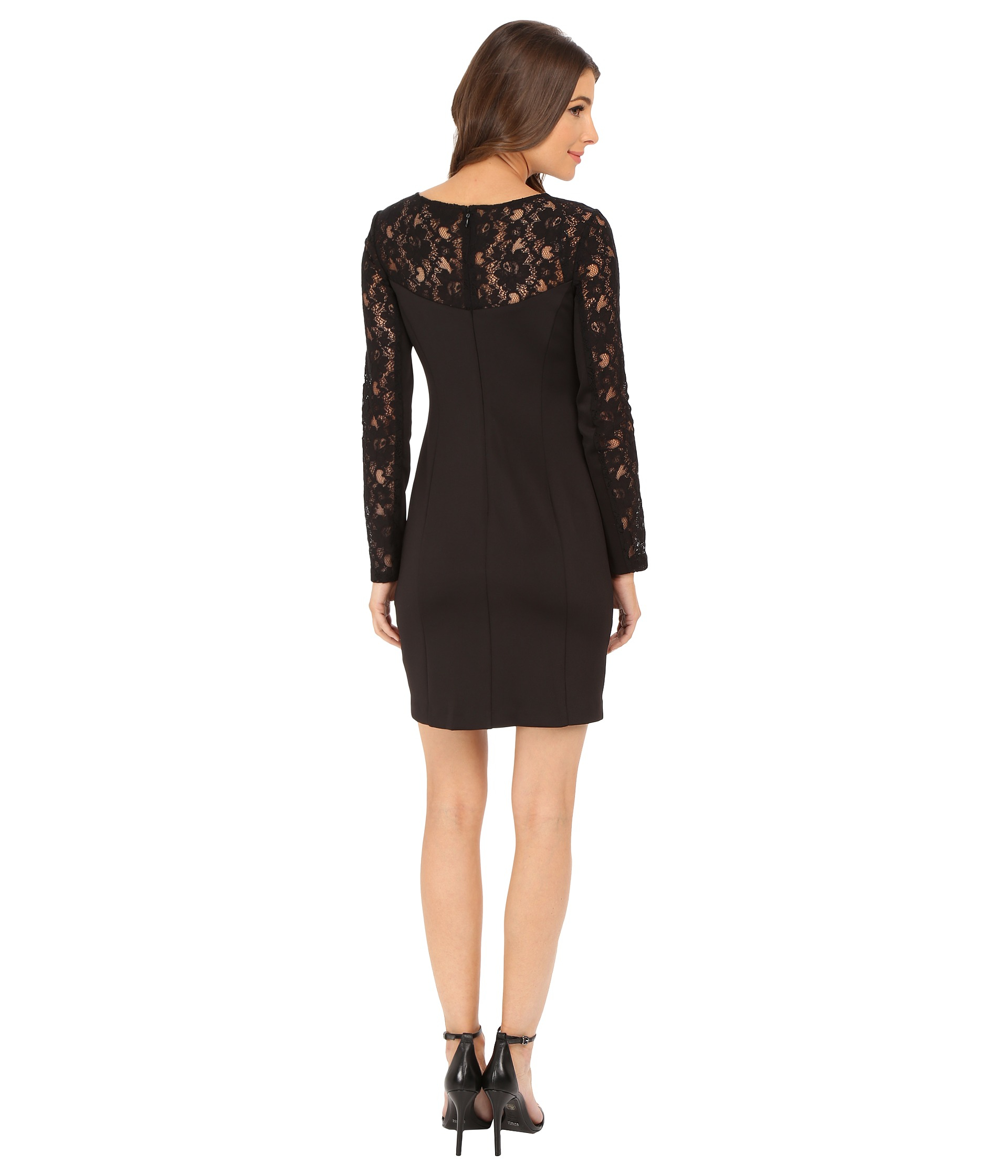 54af7c5abd8 Lyst - Jessica Simpson Scuba Dress With Lace Long Sleeves in Black