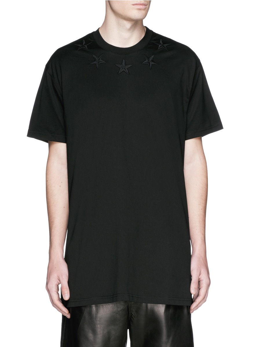 givenchy star embroidery t shirt in black for men lyst. Black Bedroom Furniture Sets. Home Design Ideas
