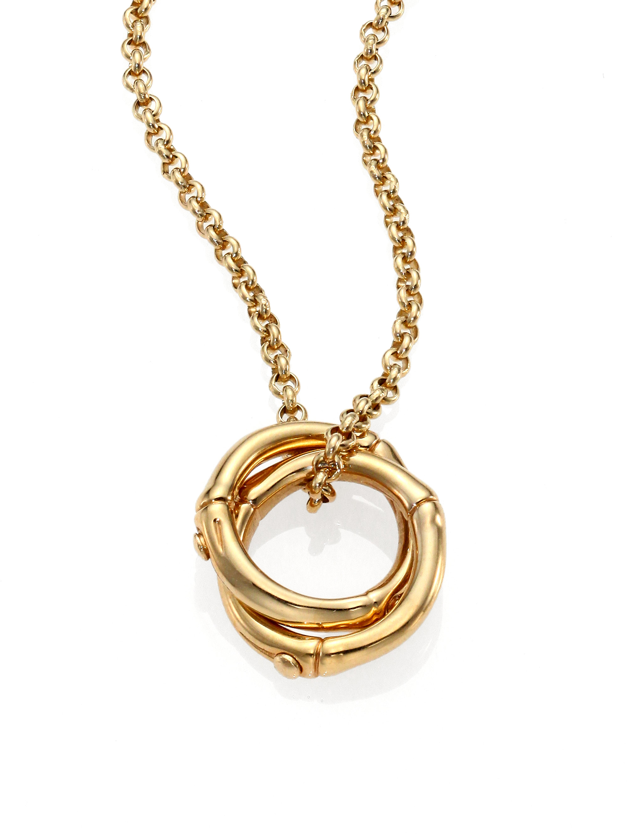 John Hardy Bamboo 18k Yellow Gold Small Round Interlinking