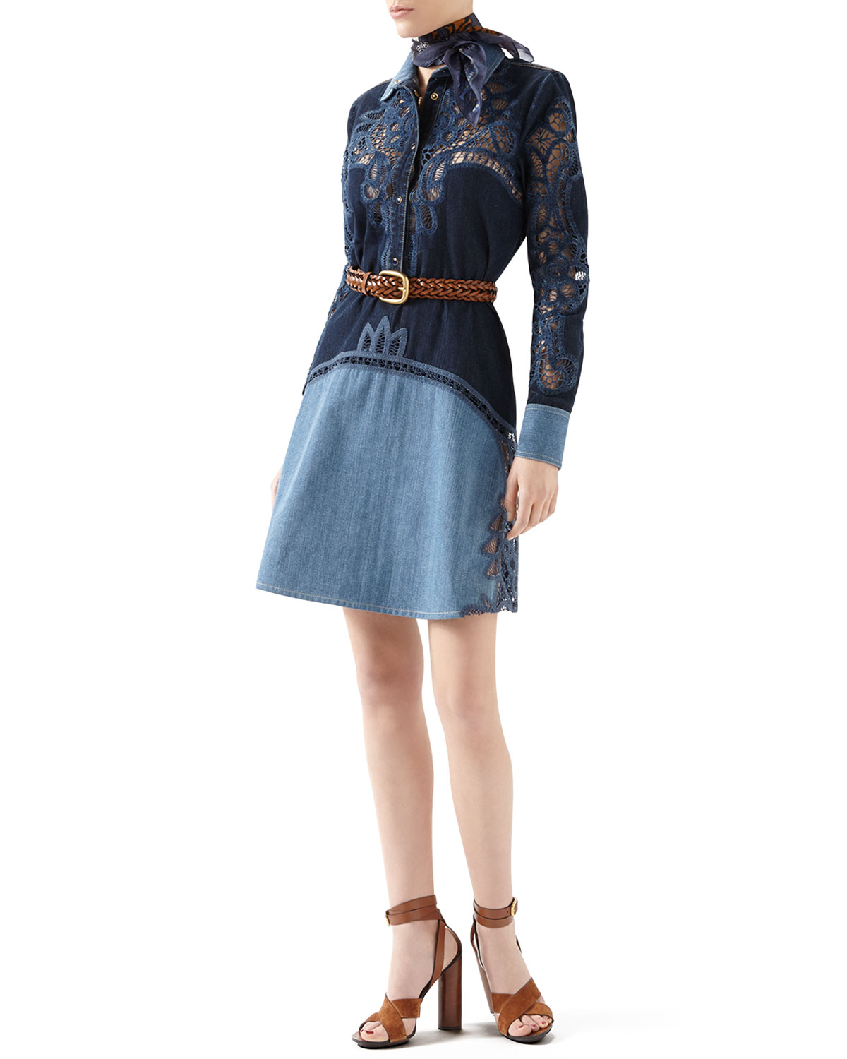 Gucci | Blue Contrast Denim Dress With Broderie Anglaise Detail | Lyst
