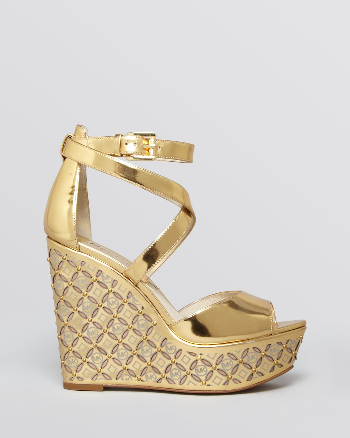 b051a2cd389 Lyst - MICHAEL Michael Kors Open Toe Platform Wedge Sandals ...