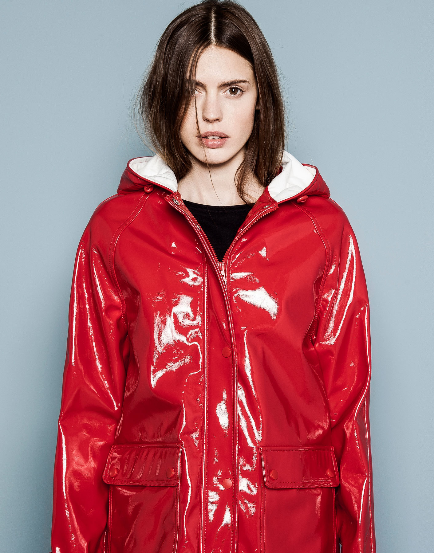 Pull Amp Bear Raincoat In Red Lyst