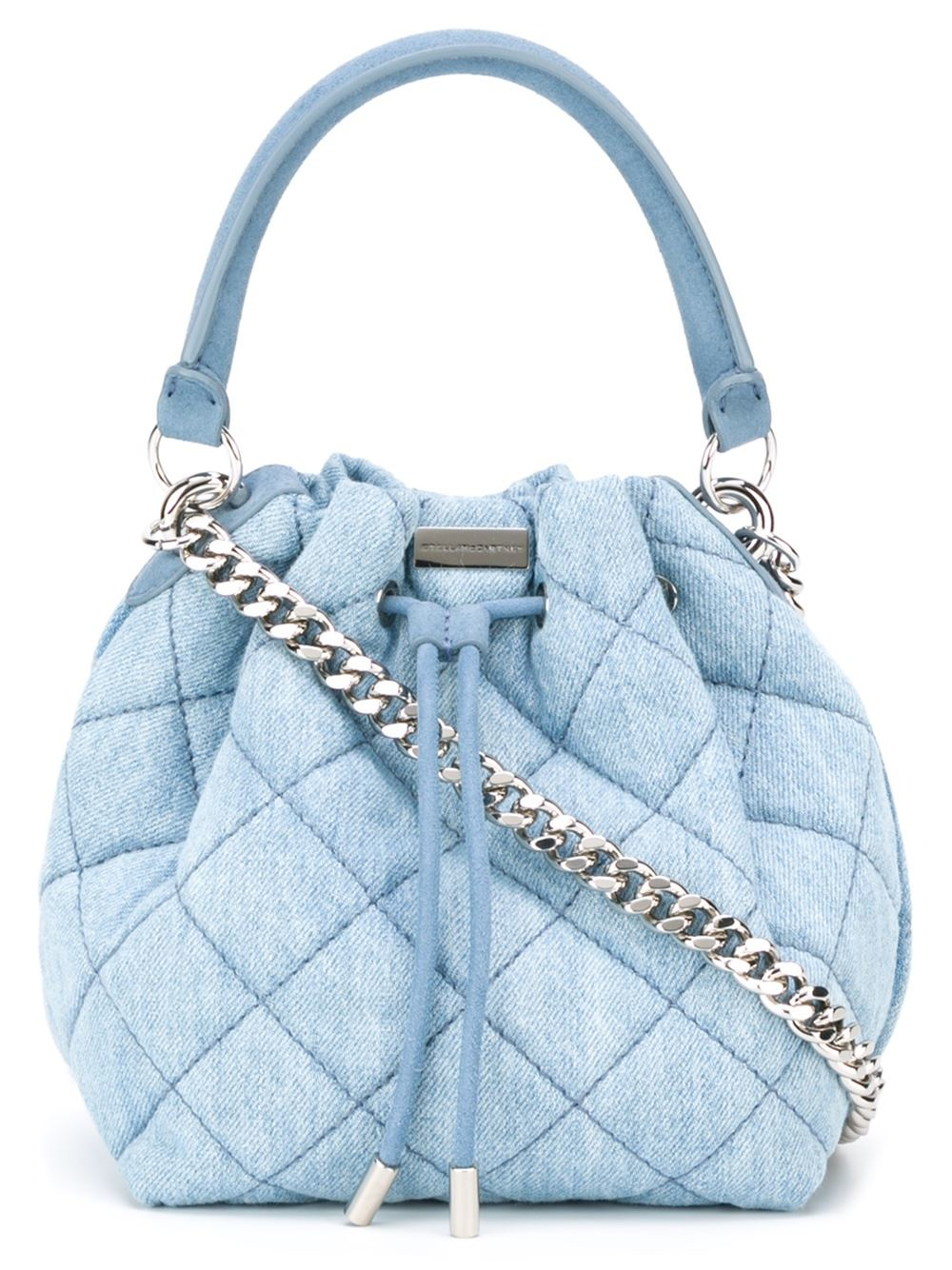 lyst stella mccartney matelasse bucket bag in blue. Black Bedroom Furniture Sets. Home Design Ideas
