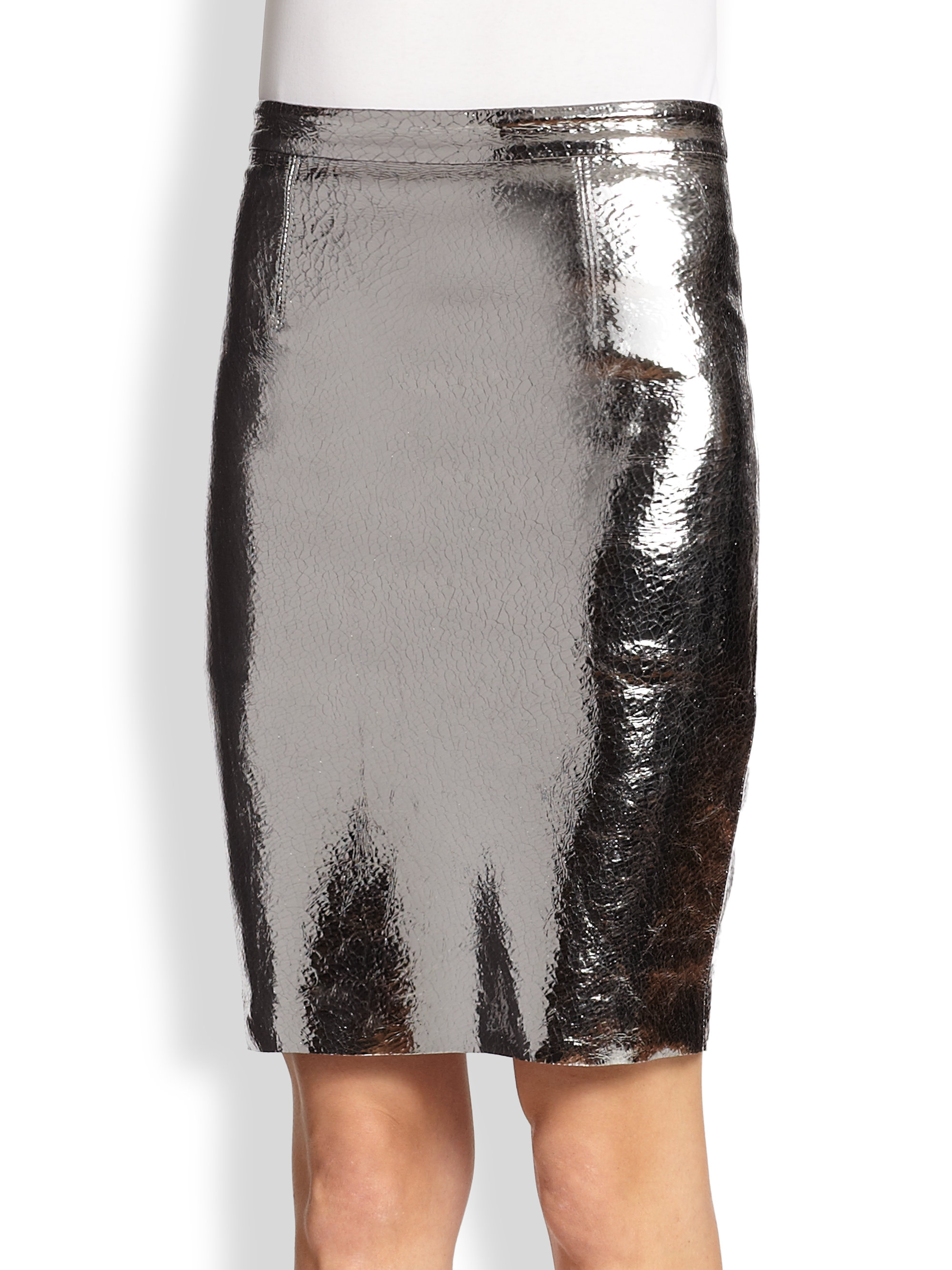 milly metallic leather pencil skirt in silver gunmetal