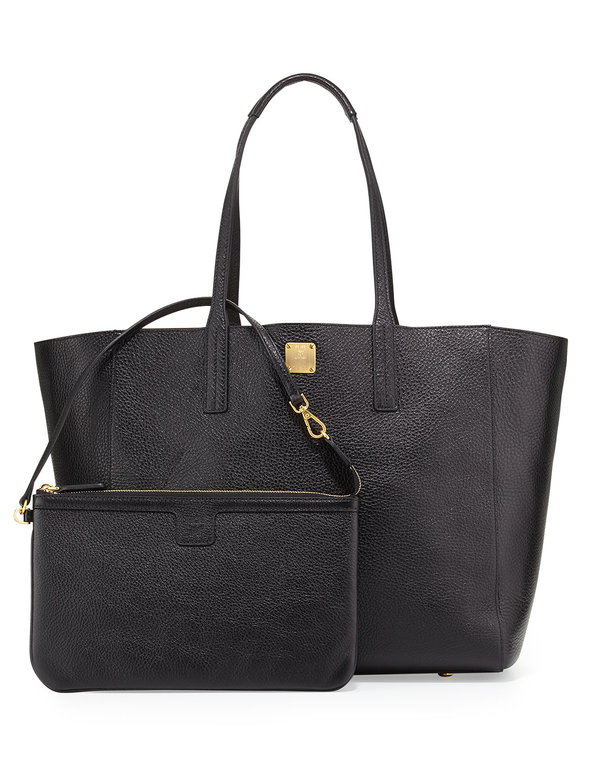 Mcm Shopper Project Reversible Leather Tote Bag In Black
