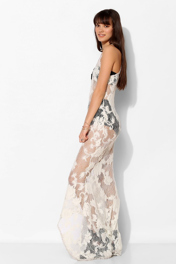 Lip service Step in Time Sheer Lace Maxi Dress in White | Lyst