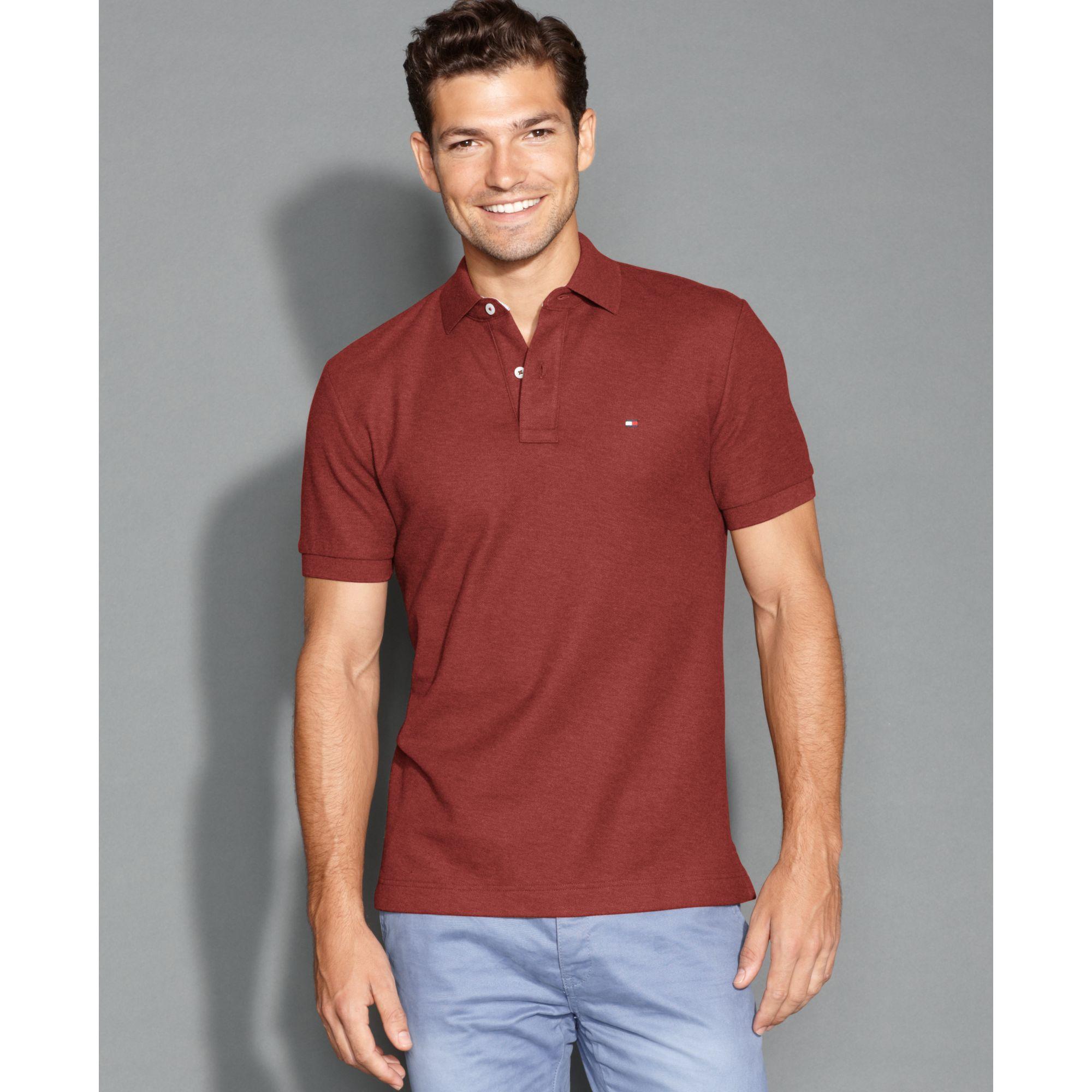 tommy hilfiger slim fit ivy polo shirt in brown for men. Black Bedroom Furniture Sets. Home Design Ideas