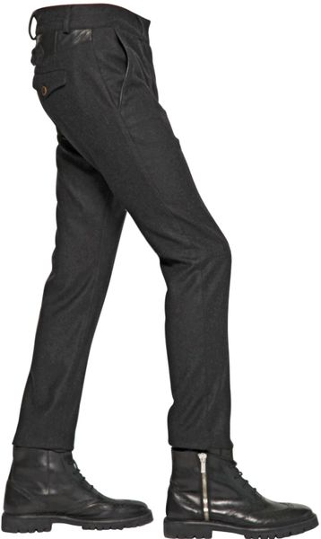 Diesel Black Gold 17cm Wool Flannel Trousers In Gray For