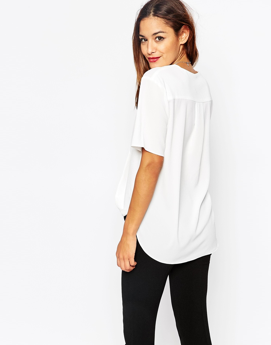 Asos Short Sleeve Drape Wrap Blouse in White | Lyst