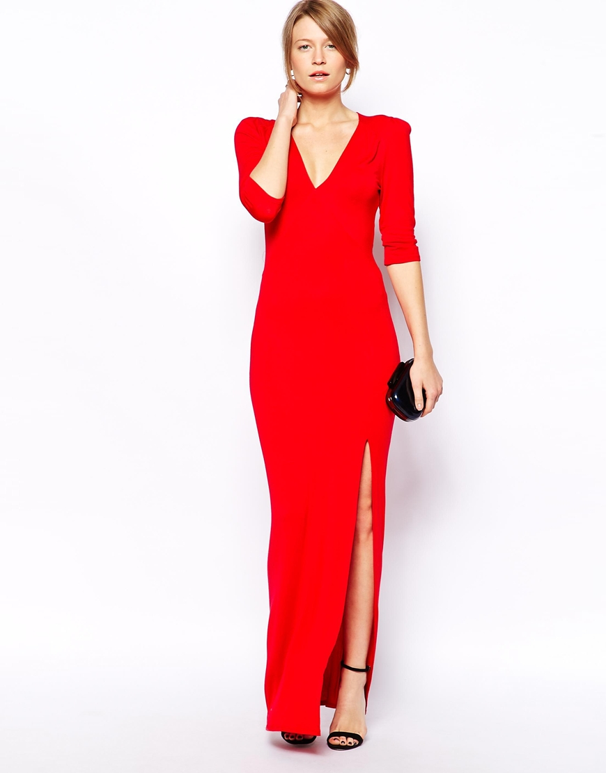 Red long sleeve maxi dress with split
